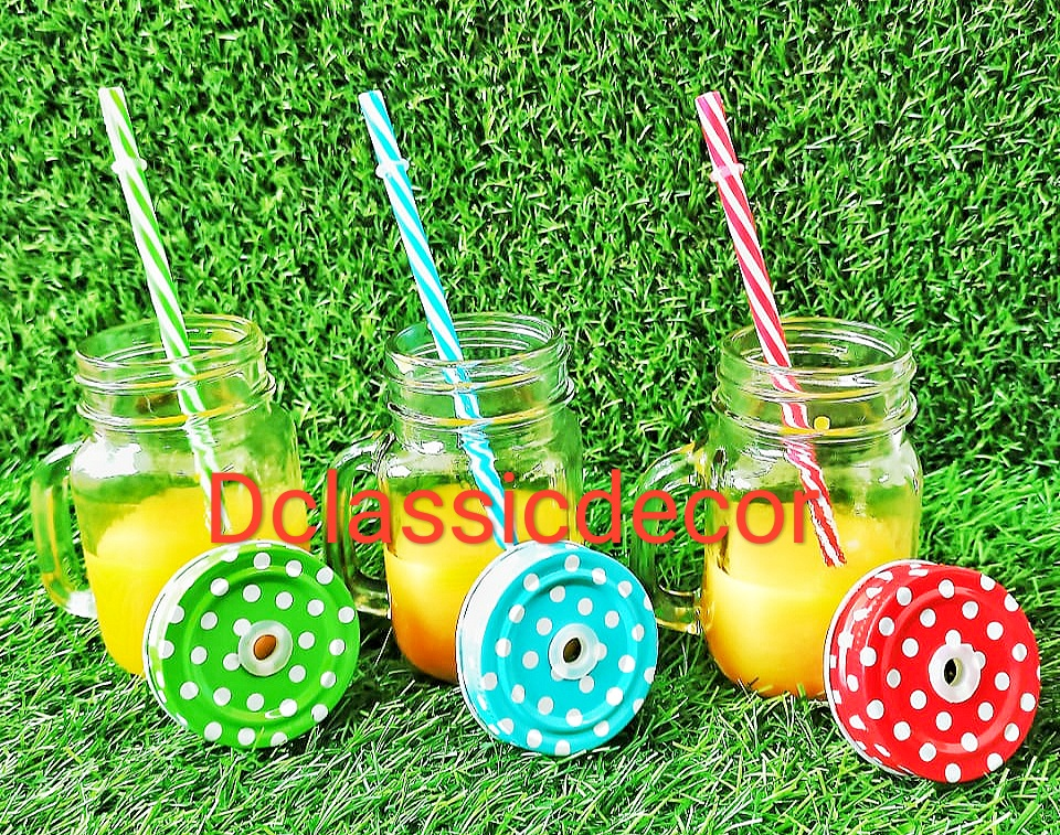 Mason jars with handle,  lid and straws ( Set of 6)