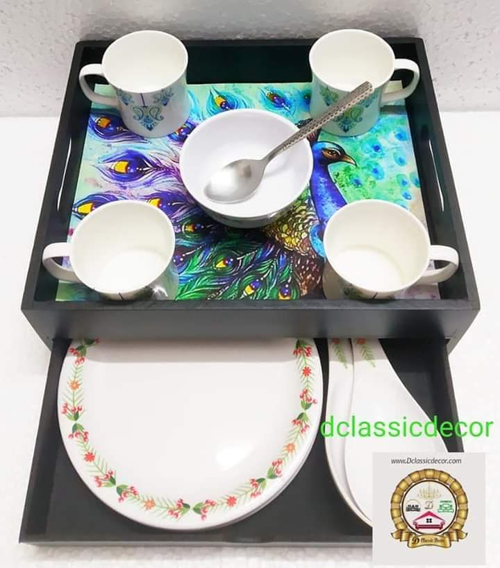 Peacock print drawer tray