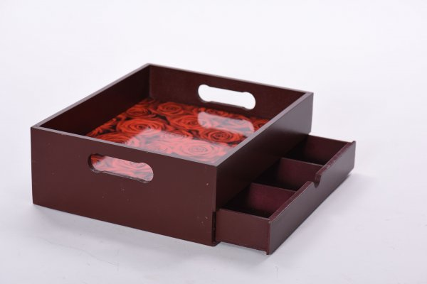 Brown Drawer Tray with Roses