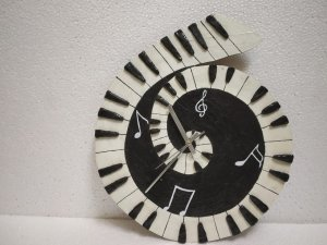 Piano shaped handmade wallclock