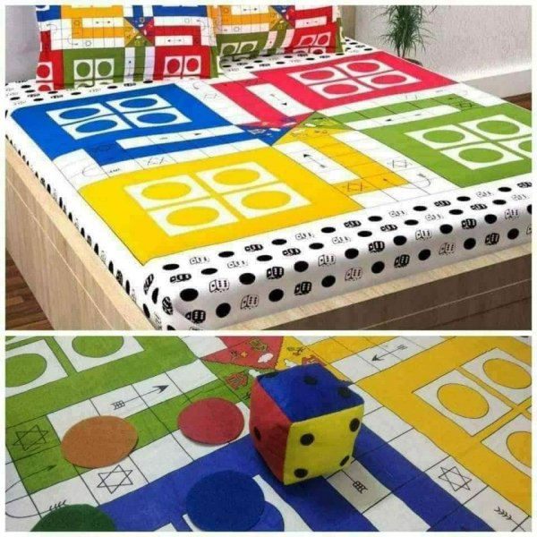 Ludo bedsheet with Dice & Gotis