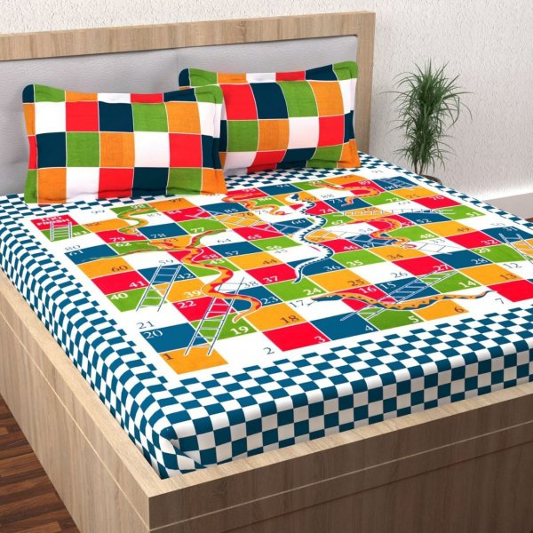 """Snakes & Ladders "" print bedsheet with Dice & Gotis"