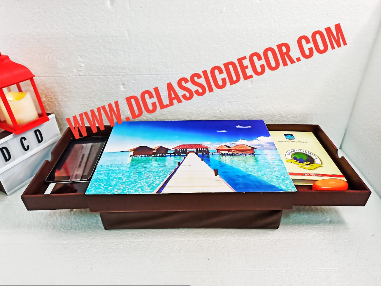 Cushioned lap table with drawers and  an attached cushion (Maldives theme)