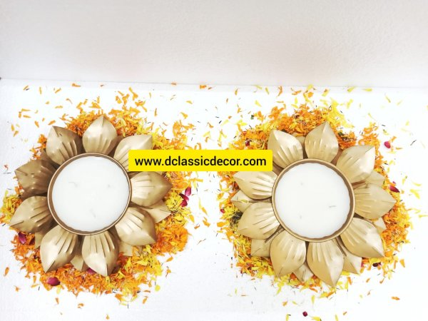 Pair of 2 Wax Filled Metal Urlis For Diwali