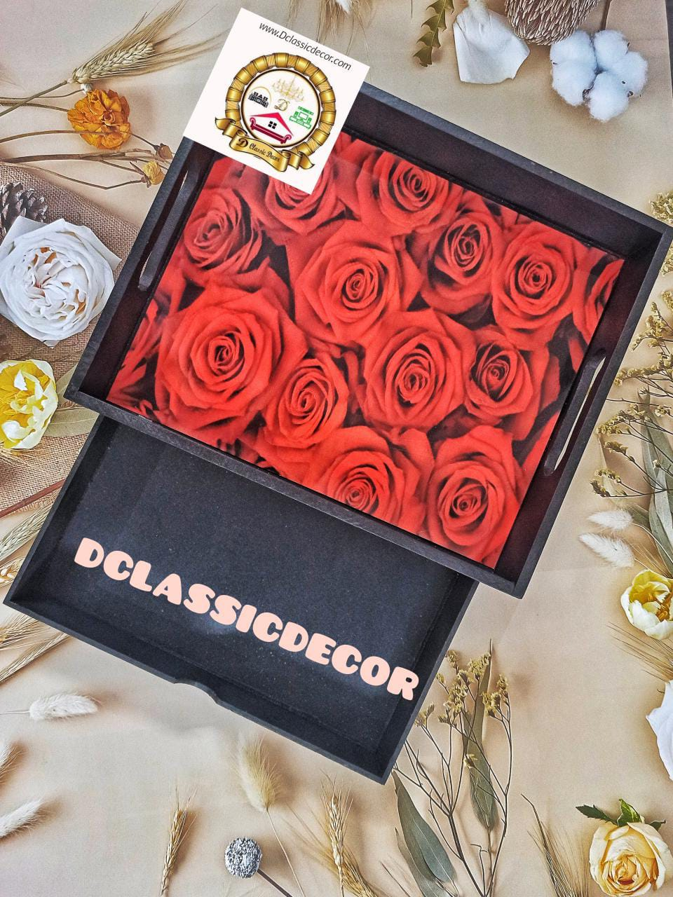 Black drawer tray with roses