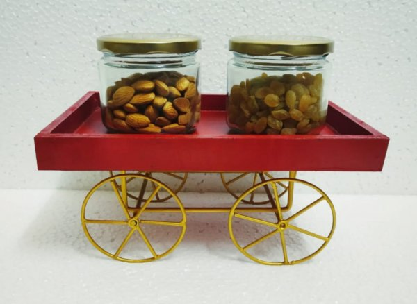 Red Thela Cart with 2 jars
