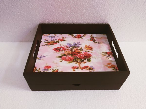 Brown Drawer tray with floral print