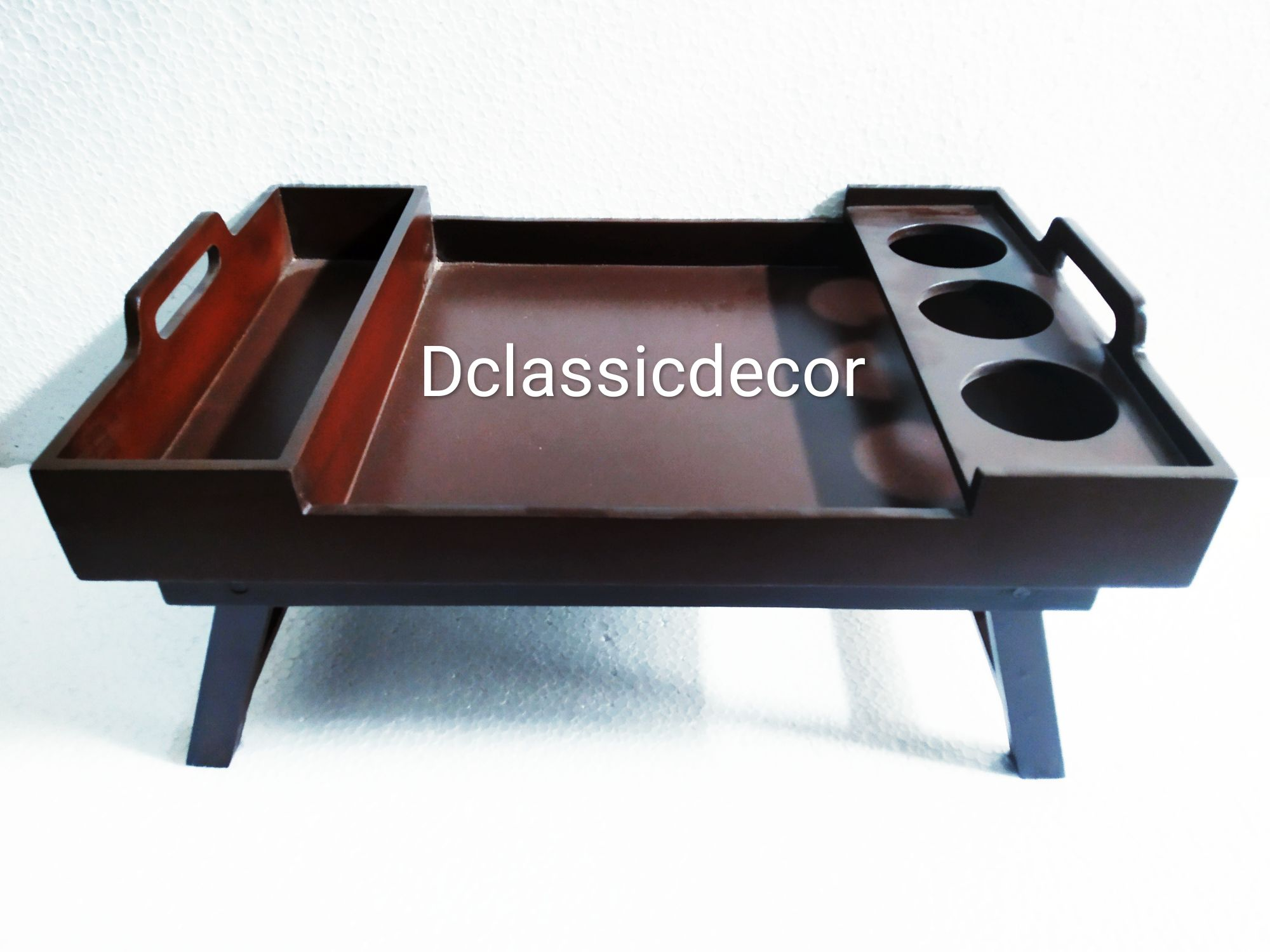 Foldable wooden bed tray table