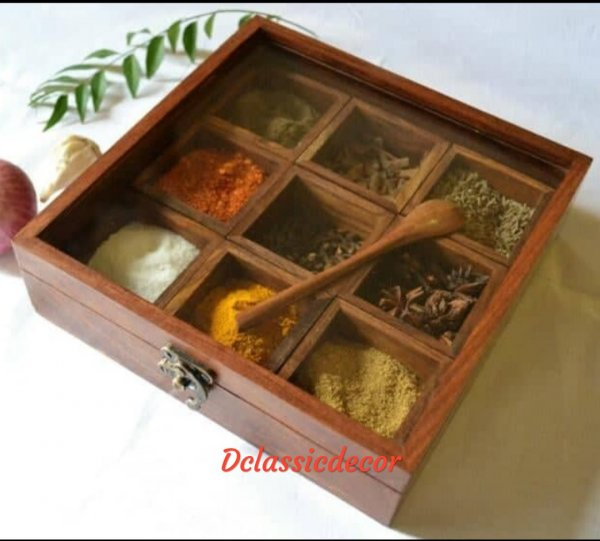 MASALA / SPICE HOLDER IN SHEESHAM WOOD