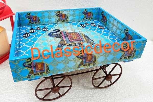 Blue Thela Cart ( Elephant print)