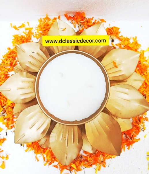 Wax Filled Metal Urli For Diwali