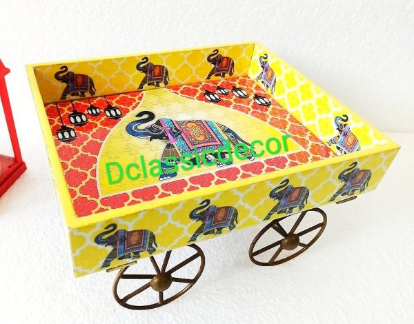 Yellow Thela Cart ( Elephant Print)